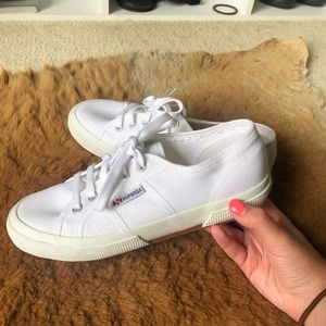 Superga 2750 Classic White Lace Up Sneakers